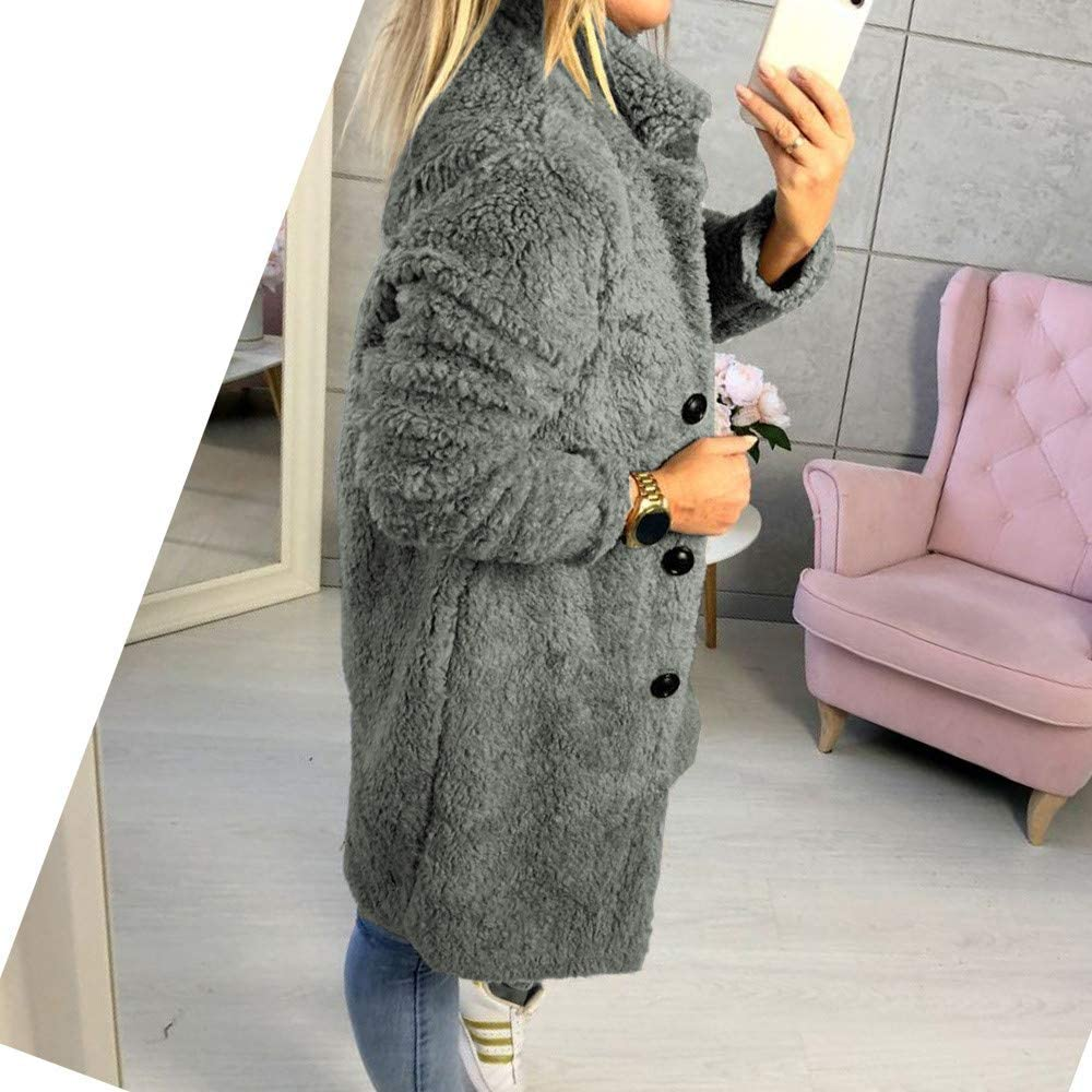 Women Winter Solid Stand Collar Fluffy Coat Button Jacket Outwear Oversized Coat Black