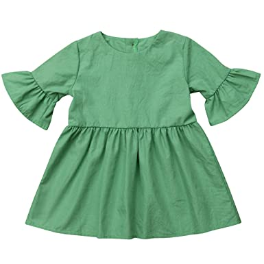 f83fca0b16 Annvivi Fall   Winter Baby Girls Dark Natural Olive Linen Ruffled Pullover  Dress (Green