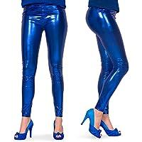 Folat 61718 - Legging Metallic, S-M, blauw