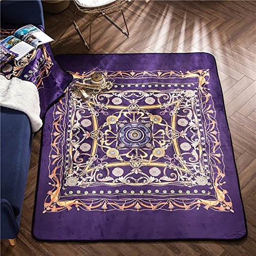 Carpet rug Palace style Digital printing Crystal wool crawling bedroom Living room floor mat Thickened doormats Non-slip design pattern Cotton ( Size : 150200cm , Style : QR-3 (Printing Wool)