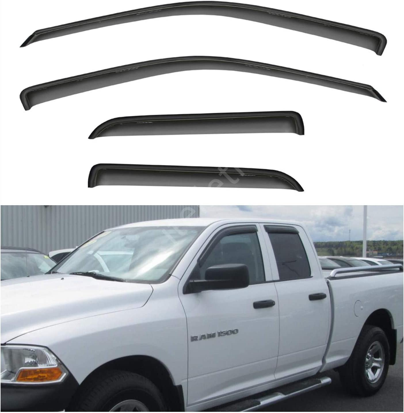 olltoz Tape-On Dark Tinted Side Window Visor Deflectors Vent Rain Guards Compatible with Dodge RAM 1500 2009-2018 Crew cab Only 2010 2011 2012 2013 2014 2015 2016 2017