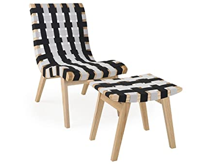 Merveilleux Mod Made Modern Woven Lounge Chair And Ottoman Solid Wood Frame, Black And  White
