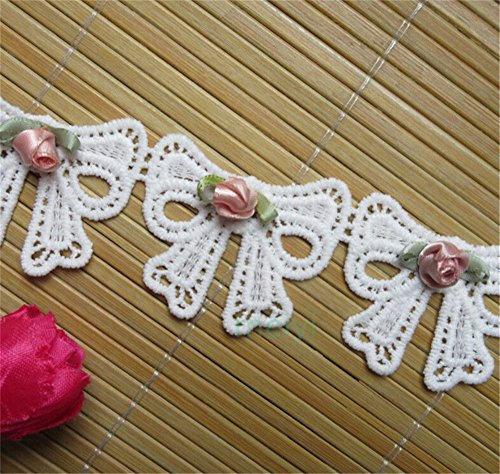 2 Meters Cotton Bowknot Butterfly Bow Flower Lace Edge Trim Ribbon 45mm Width Vintage Style White Edging Trimmings Fabric Embroidered Applique Sewing Craft Wedding Bridal Dress Apparel Embellishment