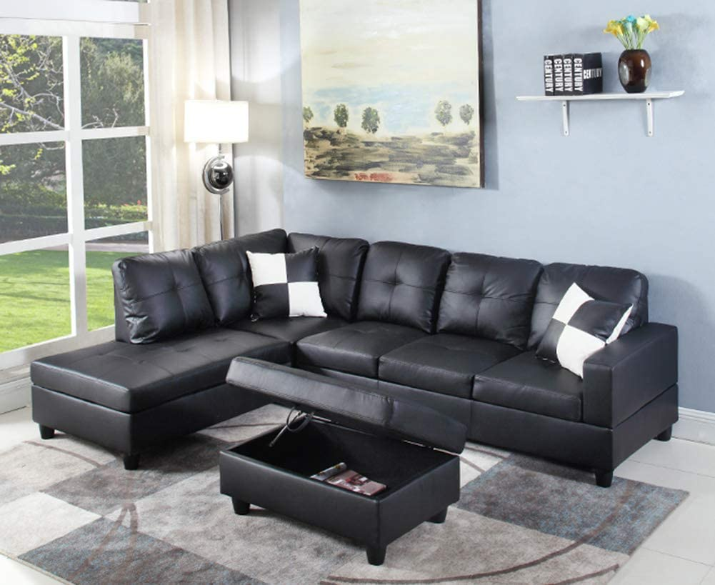 Amazon Com Left Hand Facing Chaise Modern Living Room L Shaped Sectional Sofa Set Black Kitchen Dining