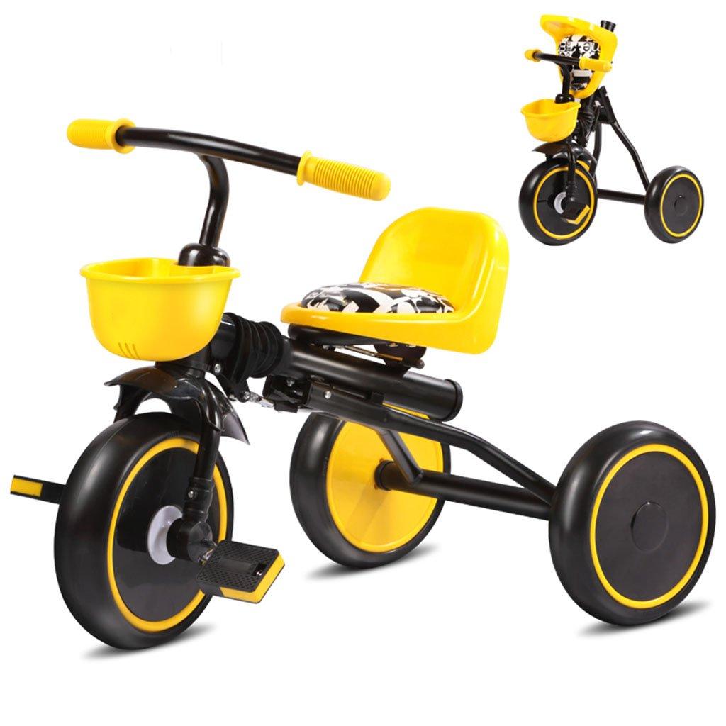 子供の自転車、子供の三輪車の赤ちゃんキャリッジ自転車のベイビーカートフォールライト B07C6GQD2Kイエロー いえろ゜
