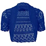 Thever Women Short Sleeve Knitted Crochet Shrug Bolero Cardigan Ladies Crop Top (M(10-12), Royal Blue)