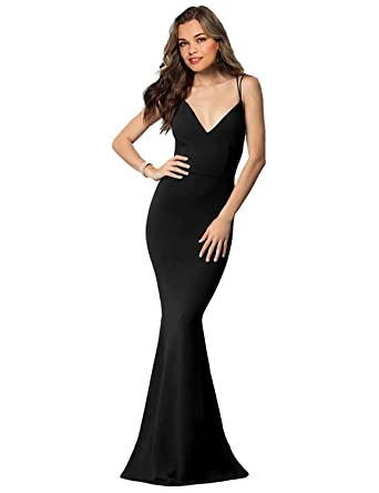 JoyVany Women Mermaid Backless Long Evening Prom Dress 2018 Formal Gown Black Size 2