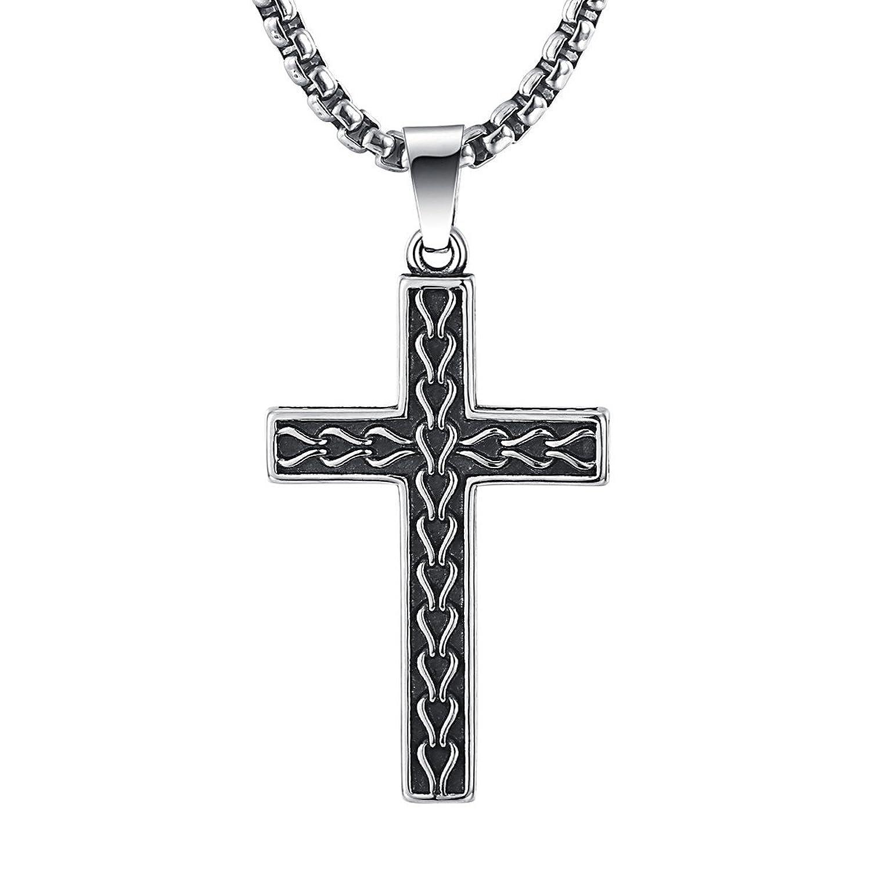 Amazon 2ndlink classic black mens titanium cross necklace amazon 2ndlink classic black mens titanium cross necklace pendant225 rolo curb chain jewelry aloadofball Images