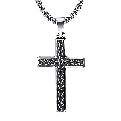 Amazon 2ndlink classic black mens titanium cross necklace 2ndlink classic black mens titanium cross necklace pendant225quot rolo curb chain mozeypictures Choice Image