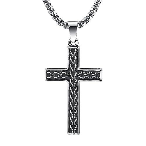 2ndlink classic black mens titanium cross necklace pendant 225 2ndlink classic black mens titanium cross necklace pendant225quot rolo curb chain aloadofball Images