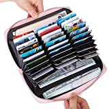 Buvelife Credit Card Wallet Leather RFID Wallet with Zipper for Women or Men, Huge Storage Capacity Credit Card Holder (lovely Pink)
