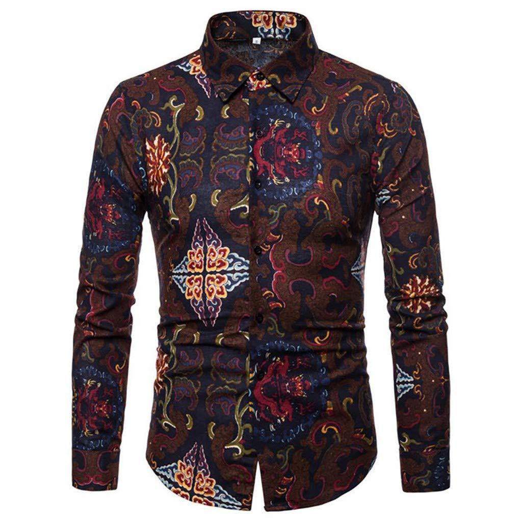 Camicie Casual da Uomo YUTING ☀‿☀ Camicia a Maniche Lunghe da Uomo Lino Estivo Tradizionale Hippy Boho Camicia da Uomo Casual Etnica
