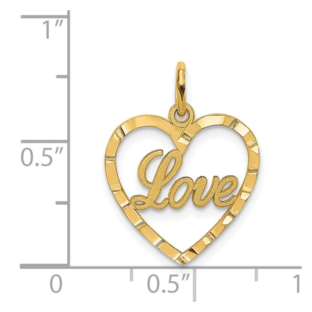 Jewelry Stores Network 14K Yellow Gold Love Heart Pendant 21x16mm
