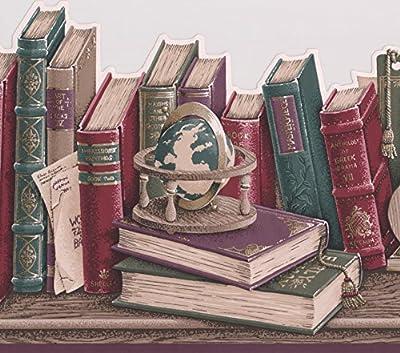 Vintage Books on the Shelf Globe Letter Wallpaper Border Retro Design, Roll 15' x 9.75''