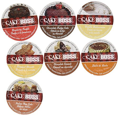 20 Cup Cake Boss® FLAVORED ONLY Coffee Sampler! 7 New Delicious Flavors! NO DECAF! Chocolate Cannoli, Italian Rum Cake, Raspberry Truffle, Dulce De Leche (caramel) + So (Coffee Cupcake)