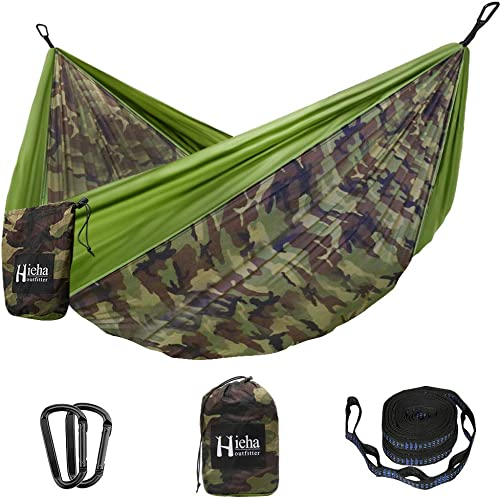 Hieha Camping Hammock – Single Portable Tree Hommock 2 Tree Straps 10 Loops 13 ft Included , Lightweight Parachute Hammocks for Backpacking, Travel, Beach, Backyard, Patio, Hiking Survival
