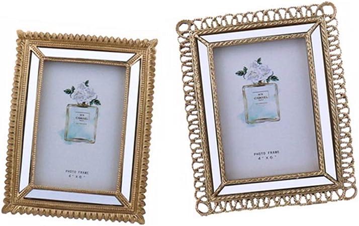 2 Pack Marco de Fotos Retro Europeo Marco de Fotos Decorativo for el hogar Marco de Resina de Montaje en Pared Fotografías Familiares (Color : Photo Color, tamaño : 16x21cm/15.5x20.5cm): Amazon.es: Hogar