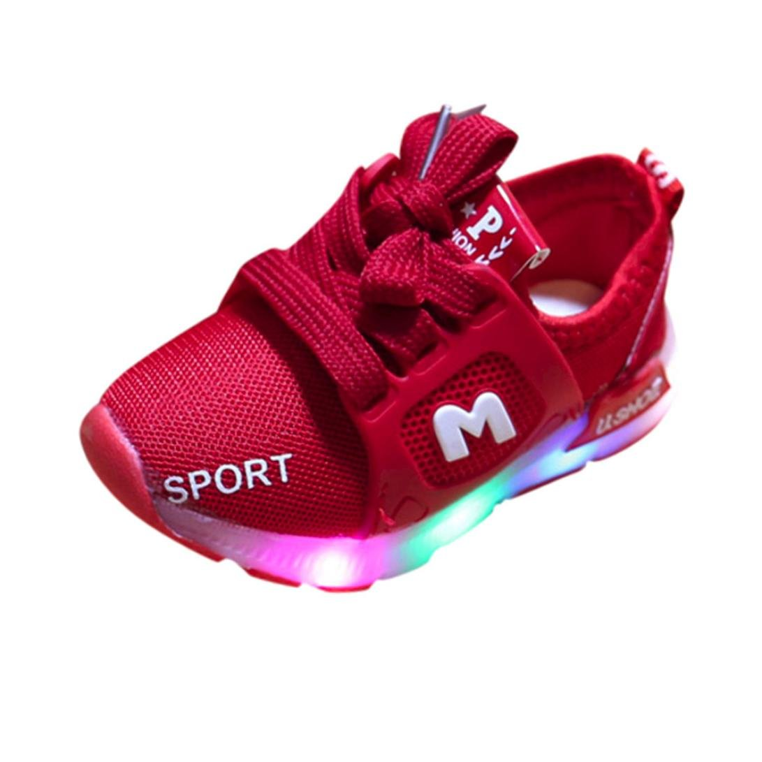 LNGRY Shoes, Toddler Kids Baby Girls Boys Fashion Led Light Luminous Soft Sole Sport Sneaker Shoes Lingery Lingery-T0507