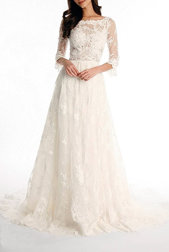 79e1a181841 APXPF Women s A line Lace Illusion Tulle Wedding Dress for Bride with  Sleeves at Amazon Women s Clothing store