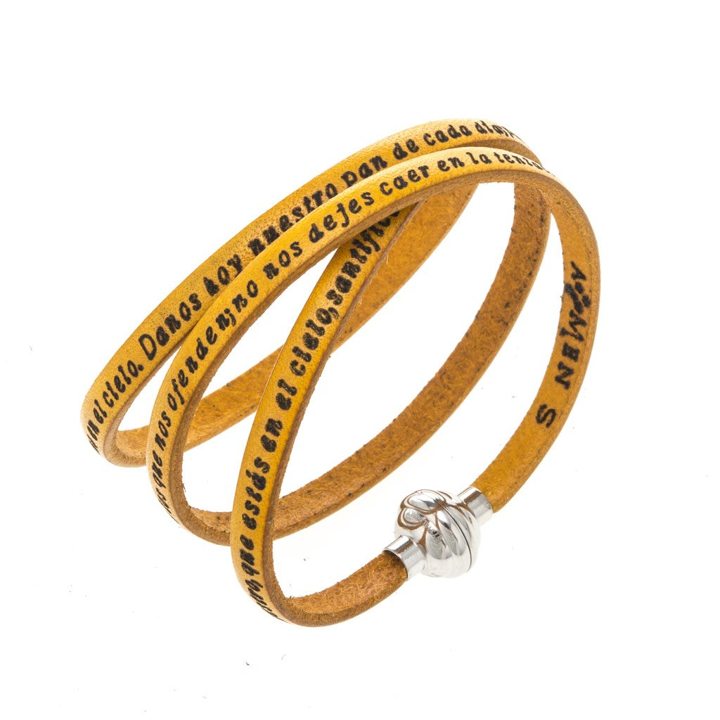 Holyart Amen Bracelet in yellow leather Our Father SPA, 60 cm (23.64 inc.)