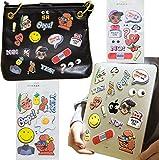 Ansen J Fashion Women's Faux Letter Sticker for Laptop,phone,notebood,wallet,2 Sheet Pattern Including enmoji Eyes, Heart Letter Omelette,Bandage,Fruit.