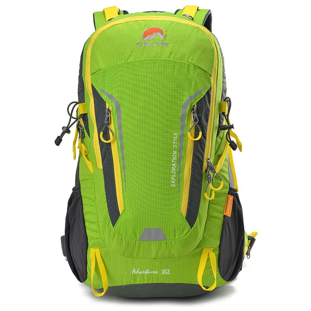 バックパック35l防水ナイロン収納ライトバッグバックパックレインカバー防災登山ユニセックス多機能屋外ファッションバックパック  green B07QRGM4LF