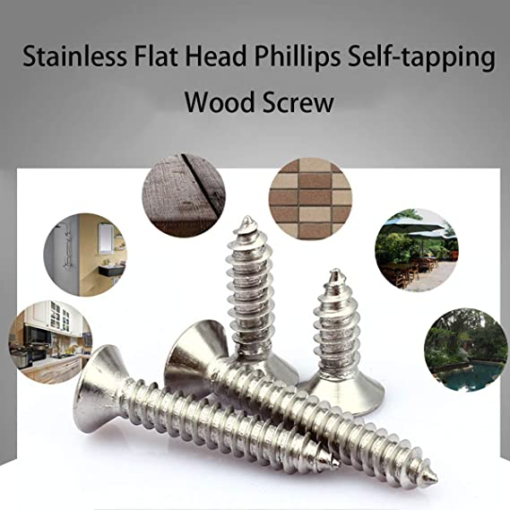 Self Tapping Screw M4 GB//T84 Flat Head Phillips Self Tapping Screws 304 A2 Stainless Steel Countersunk Sheet Metal Screw 6 8 10 12 14 16 18 20-60mm Fixed Color : 10Pcs, Length : 40mm, Size : M4