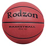 Rodzon Basketball Outdoor/Indoor Game Basketball with Pump, Needles, Basketball Net--Official Size 7 (29.5') (Red)