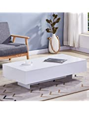 GOLDFAN Modern Rectangle Coffee Table White High Gloss Coffee Table with Storage for Living Room Home Office Furniture