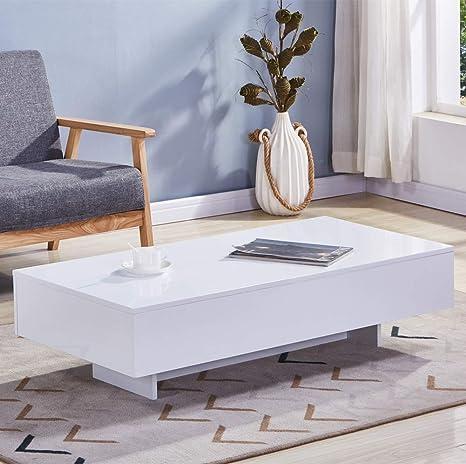 Table Basse Rectangulaire Blanc Laque.Goldfan Table Basse Rectangulaire Haute Brillance Table Basse De Salon En Bois Laque Avec Stockage Design Moderne Blanc 115x55x31cm