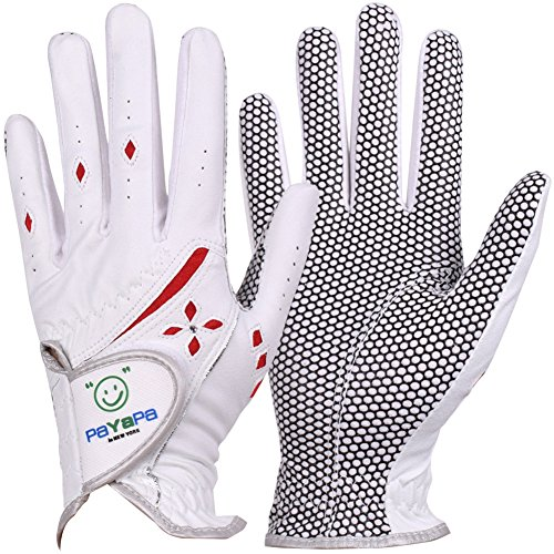 GH Women's Leather Golf Gloves One Pair - Cubic Decoration Both Hands (White, 20 (M))