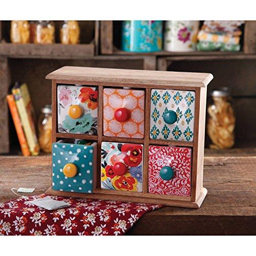 - The Pioneer Woman Flea Market 6-Drawer Spice/Tea Box