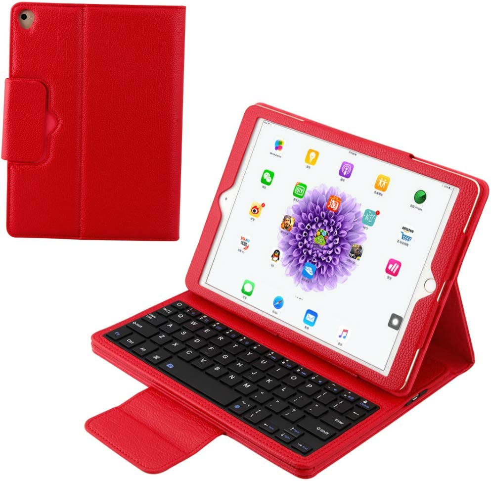 iPad Keyboard Case 9.7 inch, Compatible with iPad 6th / iPad 5th Gen, iPad Pro 9.7 inch, iPad Air 2,iPad Air, Folding Leather Separable PU Leather Case Cover Magnetically Keyboard for iPad 9.7 (Red)