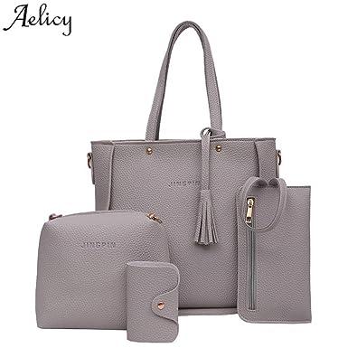 b20686e07ab3 Amazon.com: Aelicy New 4PCS/set Women Purse Handbags Sets Ladies PU ...