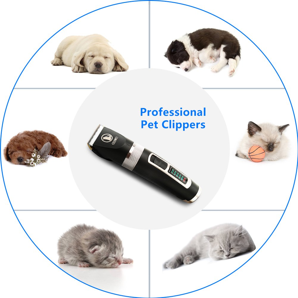 Ceenwes Dog Clippers Heavy Duty Low Noise Rechargeable Cordless Pet Clippers Professional Dog Grooming Clippers with Power Status Dog Grooming Kit with 11 Tools for Dogs Cats Other Animals by Ceenwes (Image #2)