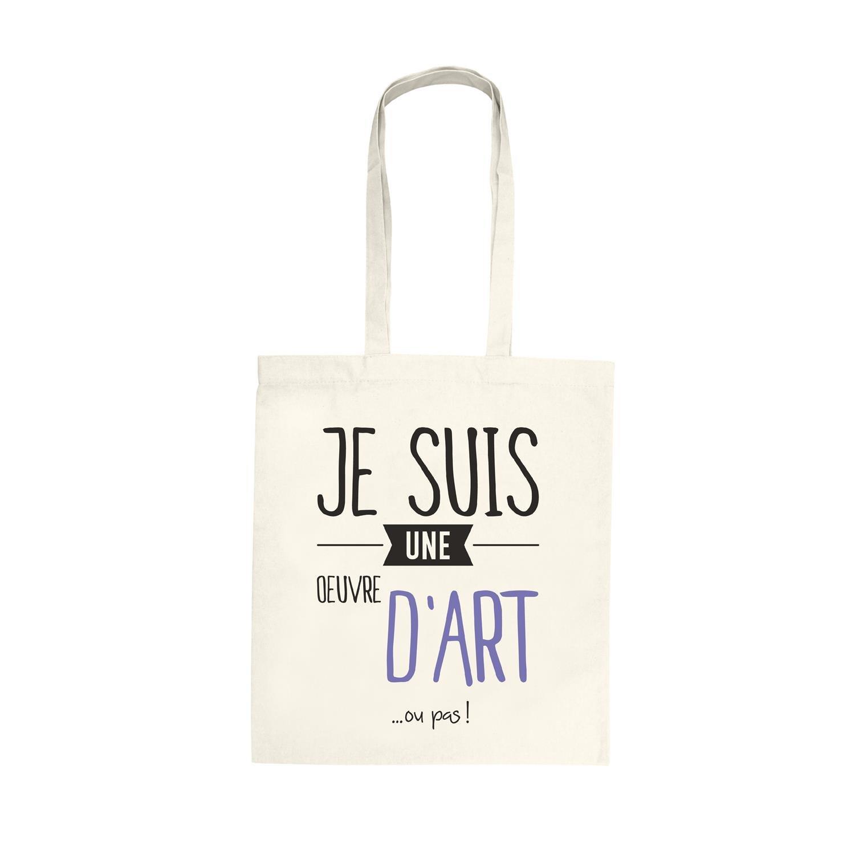 KINEA CONCEPT Tote Bag Coton Billet d'humour, Inscription Je suis Un Oeuvre d'art ou Pas !, Sac de Courses, Sac de Cours, Sac Cabas KineaConcept