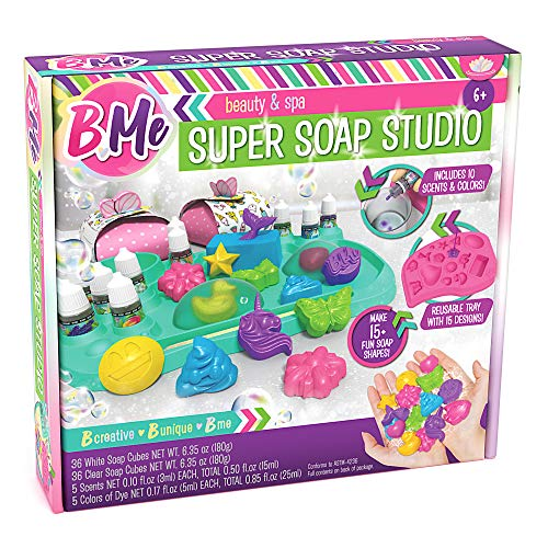 B Me DIY Super Soap Studio Soap Making Craft Kit for Boys & Girls - Make Your Own Soap Kits - Soap Lab with 15 Molds, 5 Colors & 5 Scents - Gift Idea for Children - Fun Educational Activity & Science