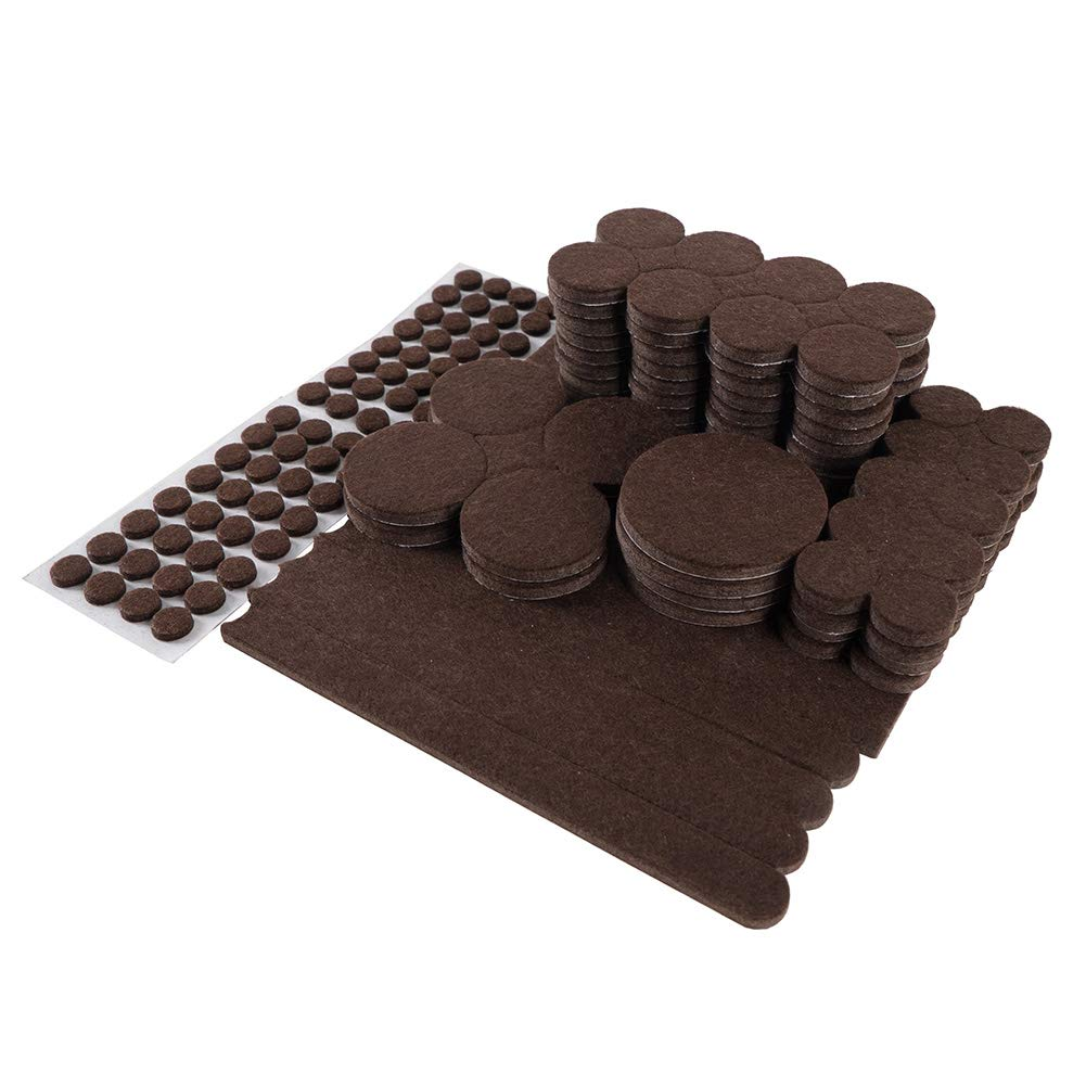 185-PC Value Pack Self-Stick Furniture Felt Pads for Hard Surfaces - Protect Your Hard Floors from Furniture Scratches All Sizes (Brown) STAR SMART