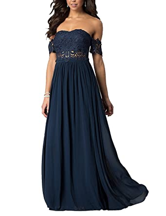menoqo Prom Dress Off Shoulder Chiffon Lace Evening Dresses Long 2018 Formal Evening Gown A-
