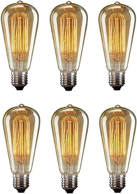 Edison Gl/üHbirne Lampe Gl/üHbirne Design Dimmbare Gl/ühbirnen E27 Edison Bulb Dimmbare Gl/ühbirnen Kleine Schraubengl/ühbirnen Edison Bulbs E27 3pack