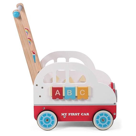 Baby Vivo Andador para Bebé Carrito de Primer Andador Correpasillo Educativo Actividad Juguete de Madera - Henry: Amazon.es: Bebé