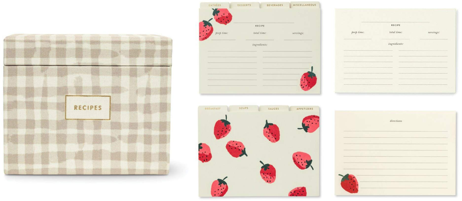 Kate Spade New York 80 Pack of 4'' x 6'' Recipe Cards with Recipe Box Strawberry With Index Card Dividers by Kate Spade New York