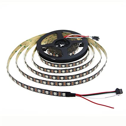 Aclorol WS2812B Individually Addressable RGB LED Strip 5M 60 Pixels/M 5V  Programmable 16 4ft 300 Pixels WS2812B WS2812 Strip Lighting Black PCB