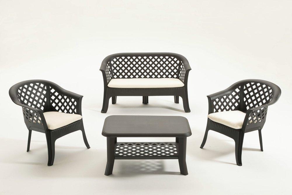 Gartenmöbel Sitzgruppe Veranda, dunkel grau, 4 Personen online bestellen