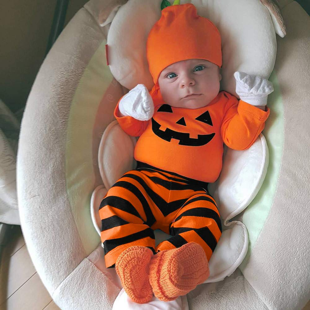 Infantil Disfraz Halloween Fossen Recien Nacido Niña Niño Bebe Monos de  Calabaza Tops con Sombrero de Raya + Sombrero  Amazon.es  Ropa y accesorios 8e8b443428bc