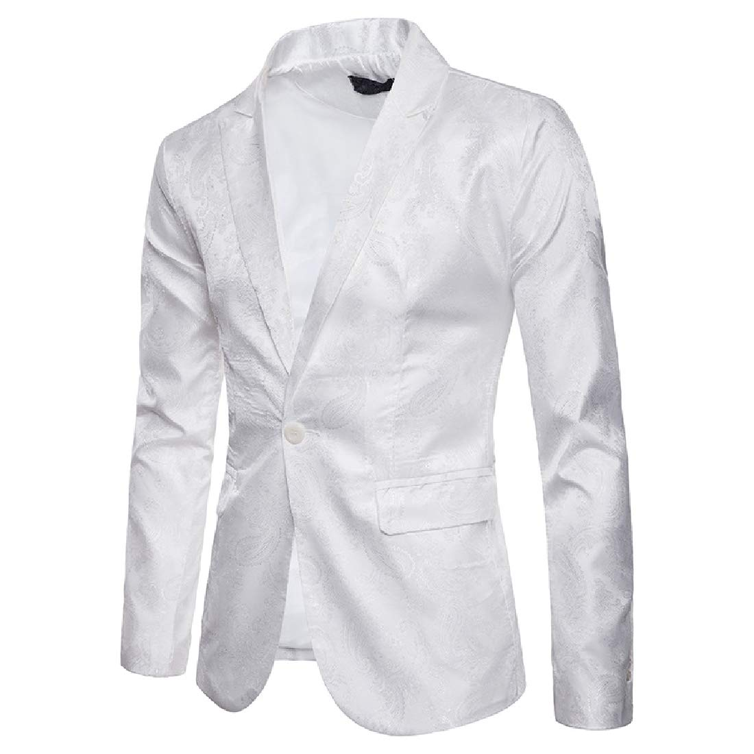 White Tootca Men Fitted One Button Dark Floral Court Style Casual Sport Coat Jacket Blazer