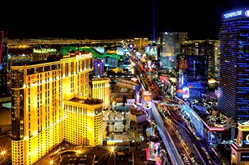 Las Vegas Strip at Night Photo Art Print Poster 12x18 inch ()