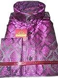 SANGI 1006 Mens Black Orchid Purple Tall Victorian Collar Collarless Shirt (3XL)