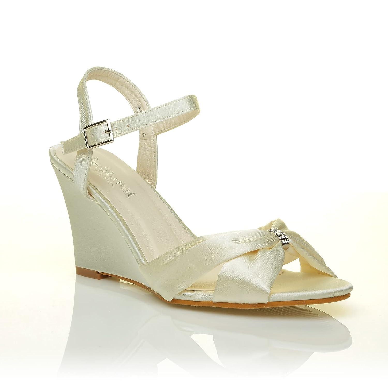5be86c85ec3 ANGEL Ivory Satin Wedge High Heel Strappy Bridal Shoes Size UK 4 EU 37   Amazon.co.uk  Shoes   Bags