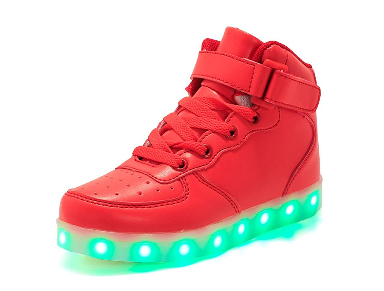 24XOmx55S99 Boy and Girls Glow Up Walking Sneaker Hook and Loop Boat Light Up Shoes